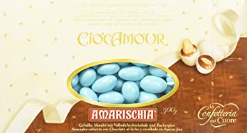 "Amarischia: ""Ciocamour"" Almond Dragees, Azure Colour 500g 17.64oz [ Italian"