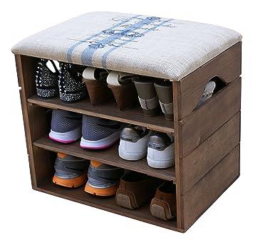 c4dddd5e6b041e MEUBLE CHAUSSURES, COFFRE BANC de RANGEMENT pour Chaussures, avec ÉTAGÈRES  en Bois Premium Vintage