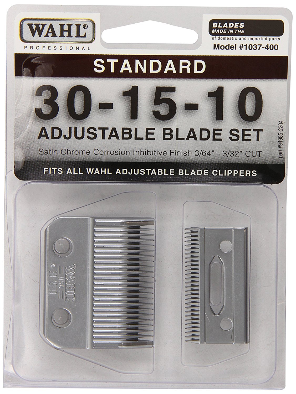 Wahl Professional 1037-400 Standard Adjustable Replacement Blade Set, 30-15-10 with Bonus Blade Brush by Wahl (Image #1)