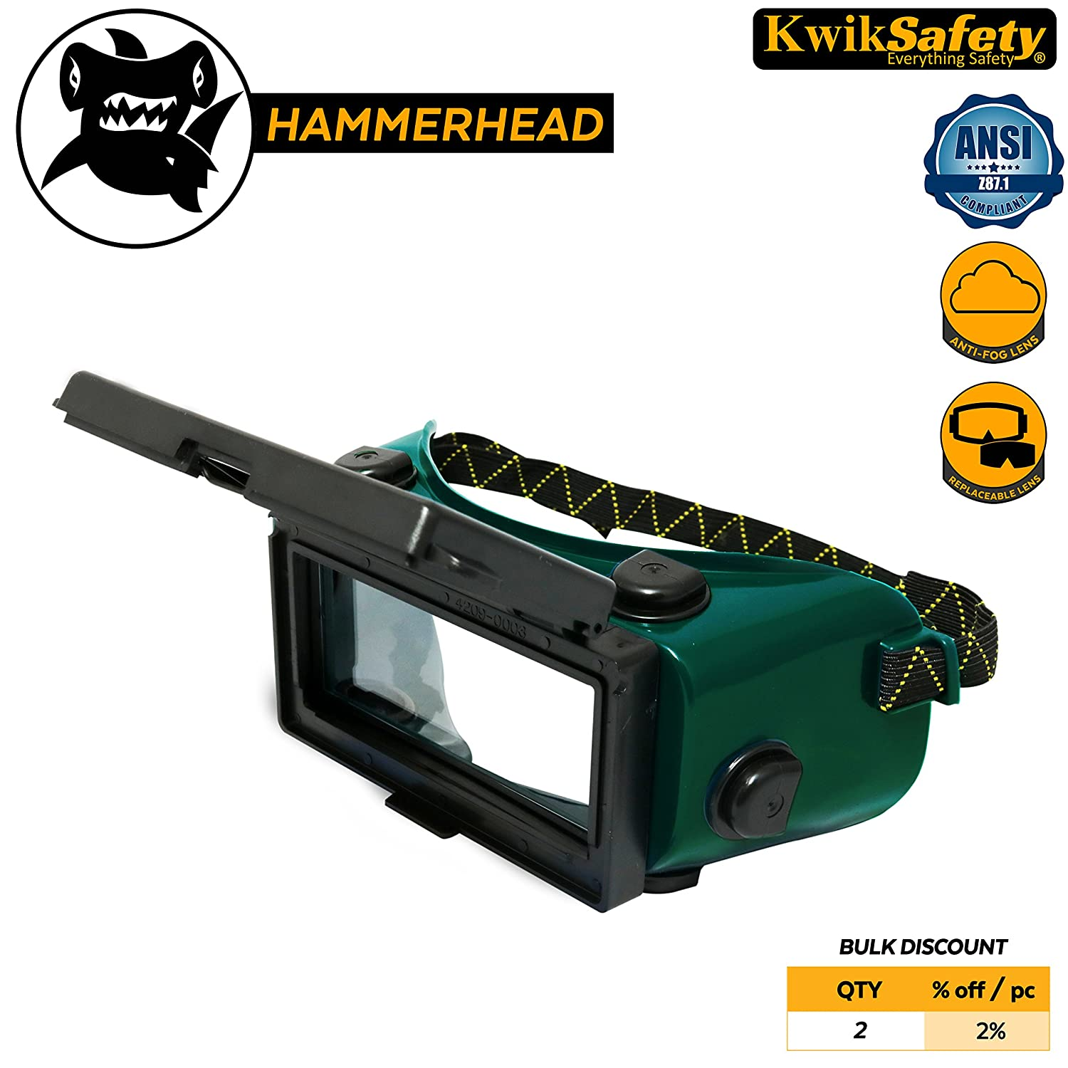 KwikSafety (Charlotte, NC) HAMMERHEAD Industrial ANSI (ANTI-FOG, Snug FIT) Welding Goggles | Flip-Up Shade 5 | Ventilation Plasma Jet Welding Torch Brazing Flame Cutting Gas Oxy-Acetylene Green