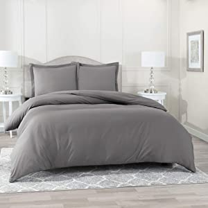 "Nestl Bedding Duvet Cover 3 Piece Set – Ultra Soft Double Brushed Microfiber Hotel Collection – Comforter Cover with Button Closure and 2 Pillow Shams, Gray - King 90""x104"""