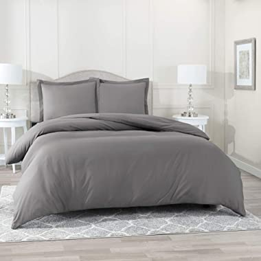 Nestl Bedding Duvet Cover 3 Piece Set – Ultra Soft Double Brushed Microfiber Hotel Collection – Comforter Cover with Button Closure and 2 Pillow Shams, Gray - Queen 90 x90