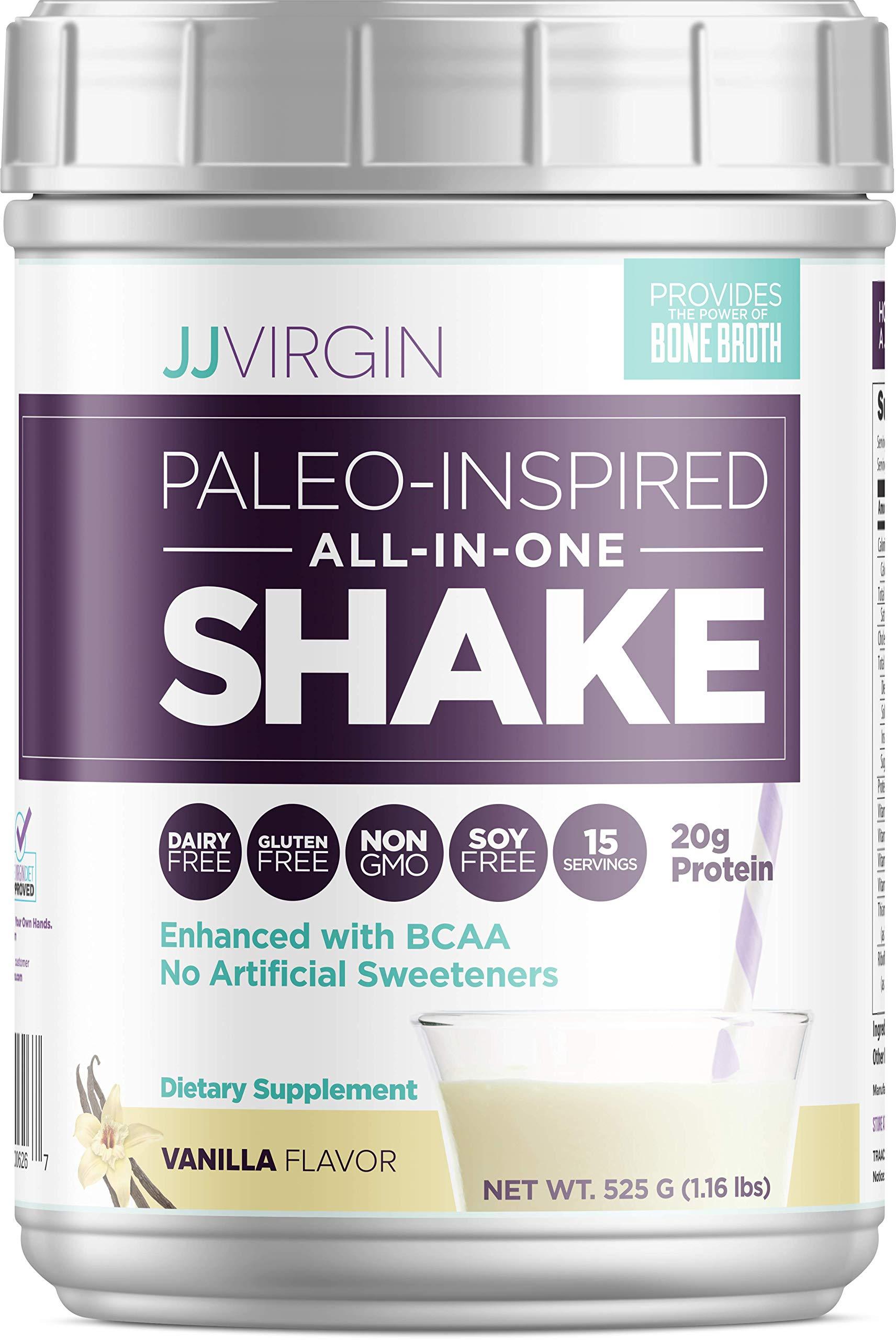 JJ Virgin Vanilla Paleo-Inspired All-in-One Shake - Paleo + Keto-Friendly Protein Powder (15 Servings, 1.16 Pounds) by JJ VIRGIN