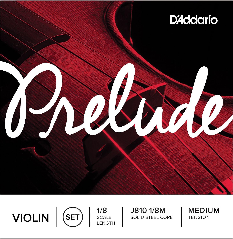 D'Addario Prelude Violin String Set, 1/8 Scale, Medium Tension,J810 1/8M D'Addario