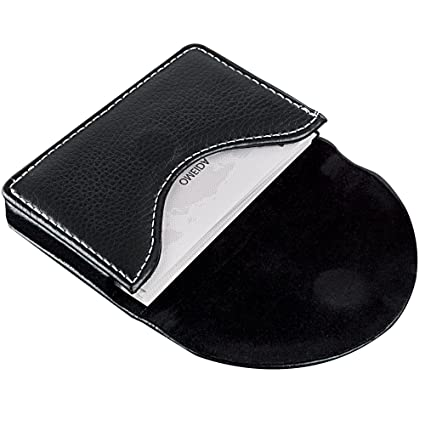 maxgear leather business card holder case with magnetic shut black holds 25 business cards - Leather Business Card Holder