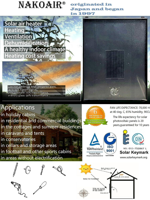 Calentador solar de aire Acondicionador Ventilador de escape Secador Espacio Suelo Calefacción Radiador Calentador Panel Deshumidificador Bomba de calor ...
