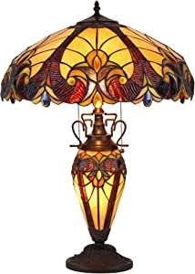 "Chloe Lighting CH38632AV18-DT3 Tiffany Style 3 Light Victorian Double Lit Table Lamp 18"" Shade, 17.3"" x 17.3"" x 24.8"", Multi"
