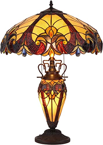 Chloe Lighting CH38632AV18-DT3 Tiffany Style 3 Light Victorian Double Lit Table Lamp 18 Shade, 17.3 x 17.3 x 24.8 , Multi