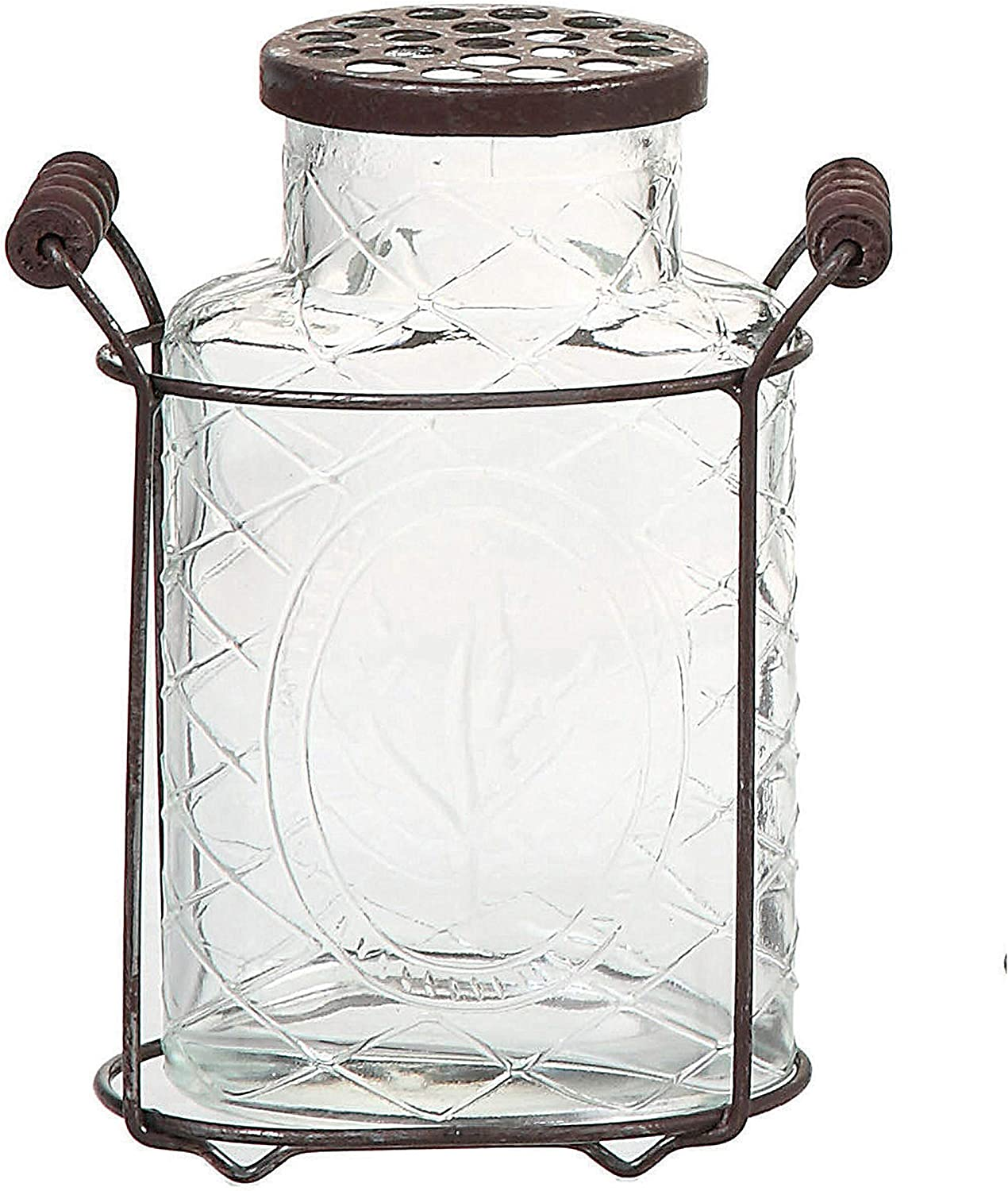 Creative Co-Op Glass Vase with Metal Flower Lid Large