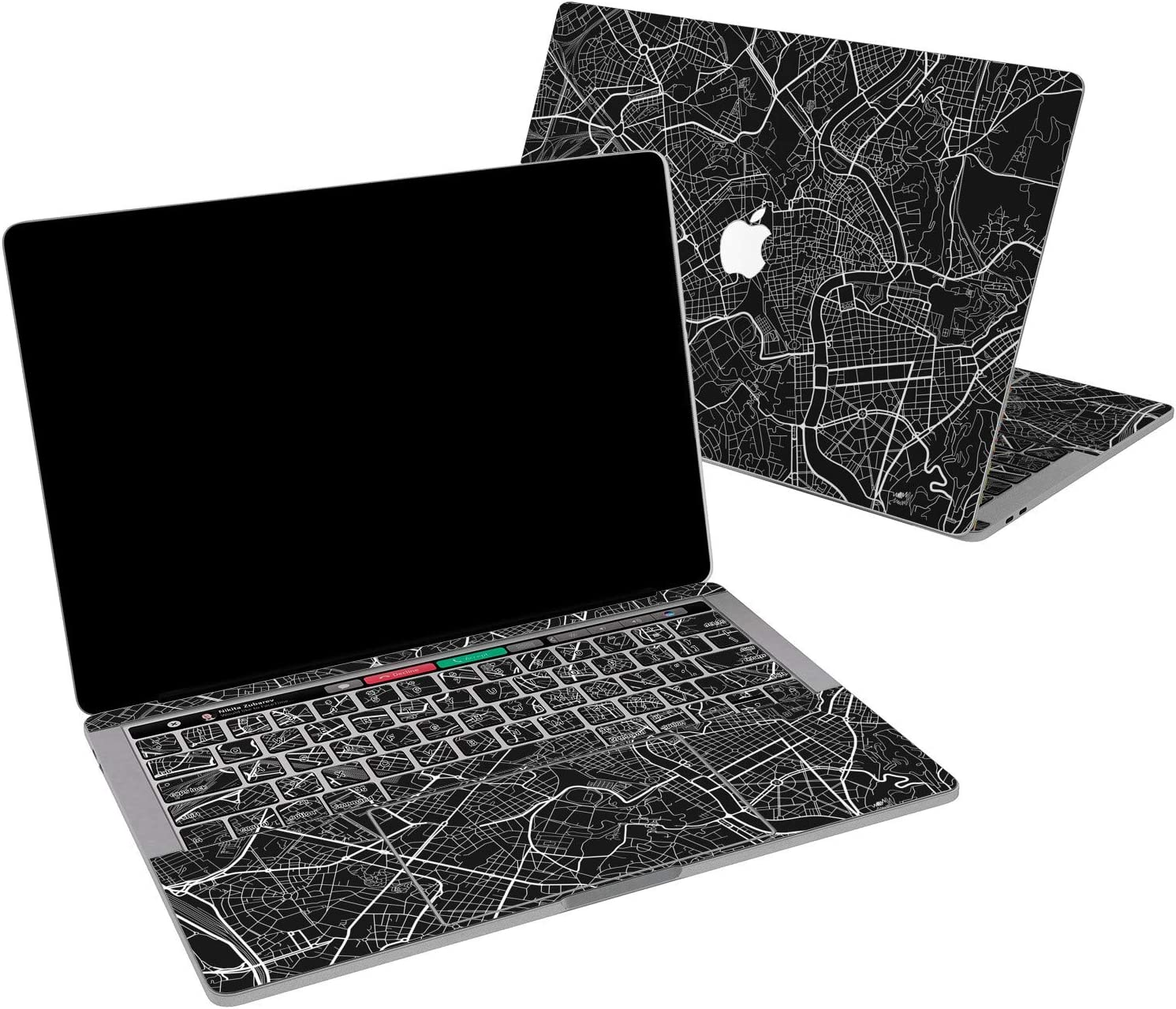 Lex Altern Vinyl Skin for MacBook Air 13 inch Mac Pro 16 15 Retina 12 11 2020 2019 2018 2017 Monochrome City Map Pattern Basic Minimal Cool Print Laptop Cover Decal Sticker Touch Bar Protective