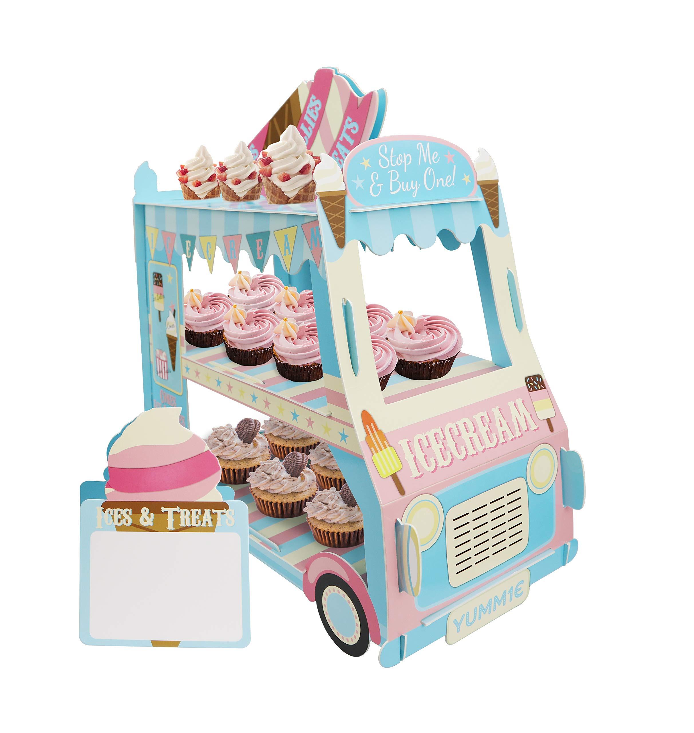 KAPOKKU 3 Tier Cupcake Stand Ice Cream Van Stand Cars Display StandCar Cupcake Cake Stand Paper Cupcake Holder for Theme Kids Birthday Party,Paper (Car Van stand cupcake holder)