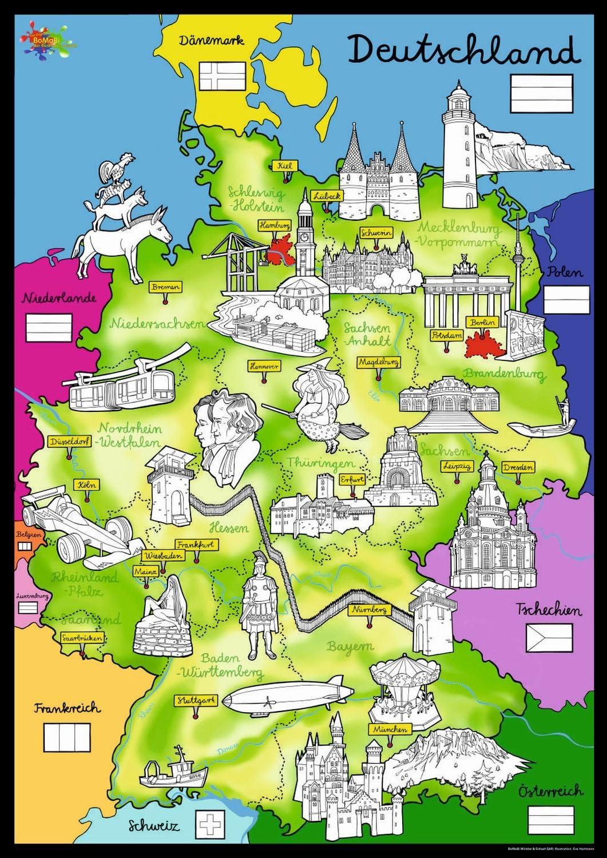 Kreul 38165 Bomabi Xxl Ausmalposter Deutschlandkarte Inklusive