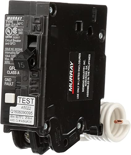 Siemens MP115GFA Murray 15-Amp 1 Pole 120-Volt Ground Fault Circuit Interrupter with Self Test Lockout Feature
