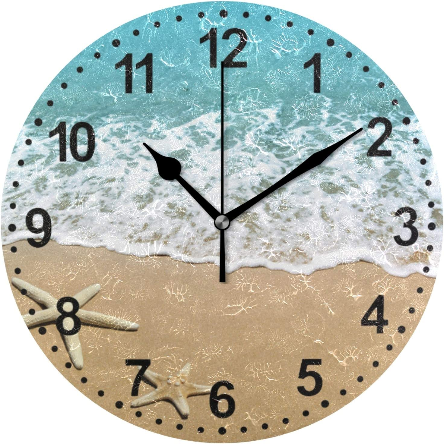 Amazon Com Bathroom Clock Summer Seashell Decorative Wall Clock Non Ticking Silent Clocks For Living Room Decor Mother S Gift Kitchen Dining
