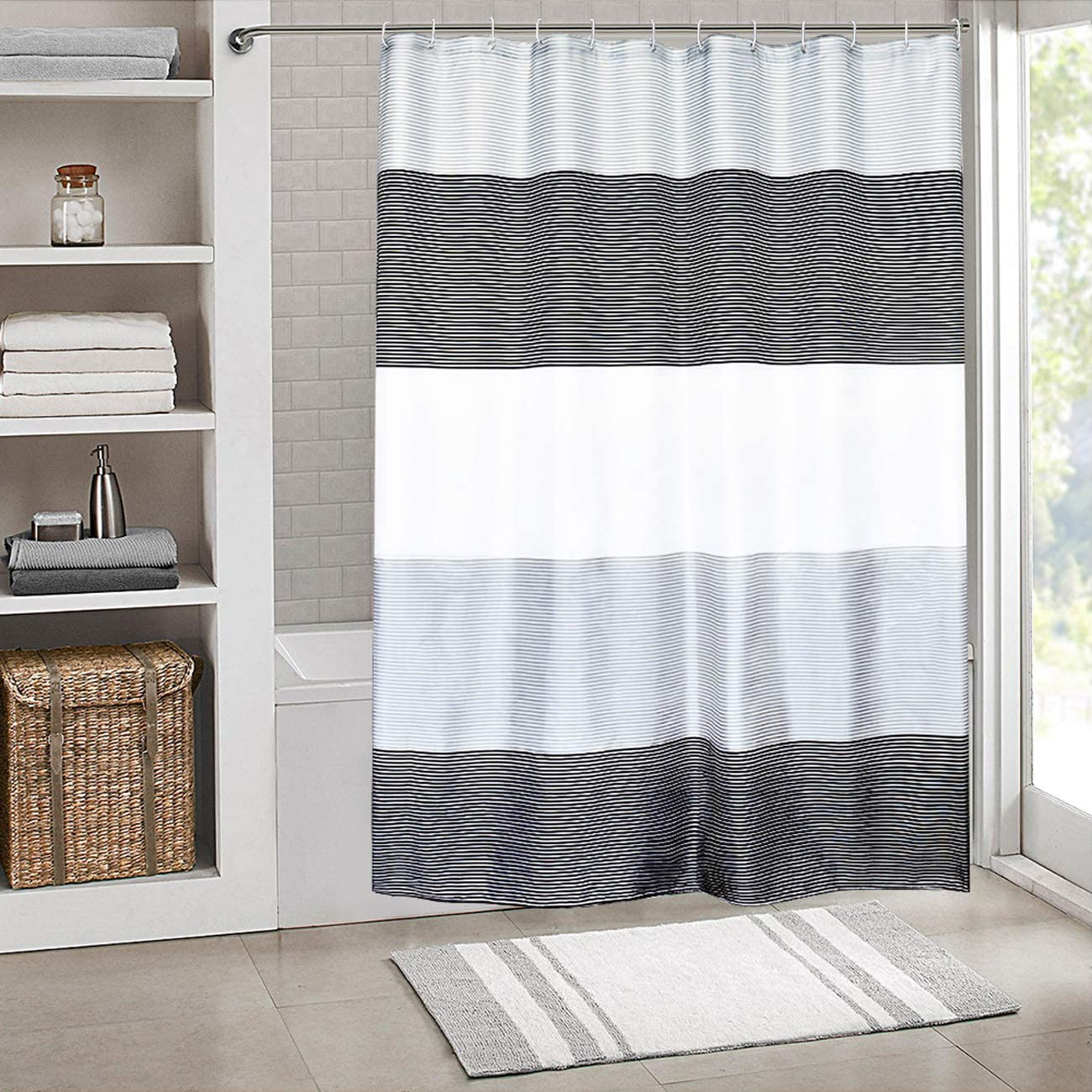 """SHES HOME Shower Curtain Set Waterproof,Stripes Polyester Fabric for  Bathroom Showers and Bathtubs,Grey & Black & White,4"""" W×4"""" L Size"""