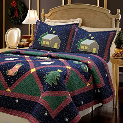 Twin Christmas Bedding Sets.Cozy Line Lightweight Warm Cotton Plaid 2 Piece Christmas Quilt Bedding Set Navy Blue And Green Twin