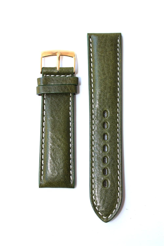 24 mmオリーブグリーンHeavy Padded Calfskinレザーバンドwithコントラストステッチ。Made In Italy。Fits Paneraiスタイル  B005ZWKKZI