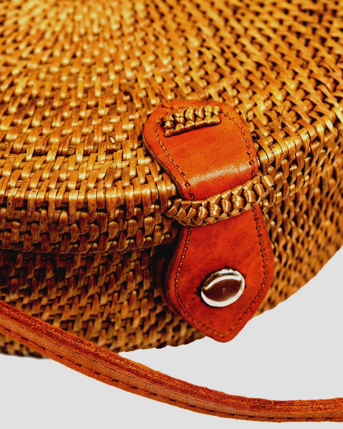 Bali Rattan - Handwoven Round Rattan Bag (Plain Weave Leather Closure) by Bali Rattan (Image #2)