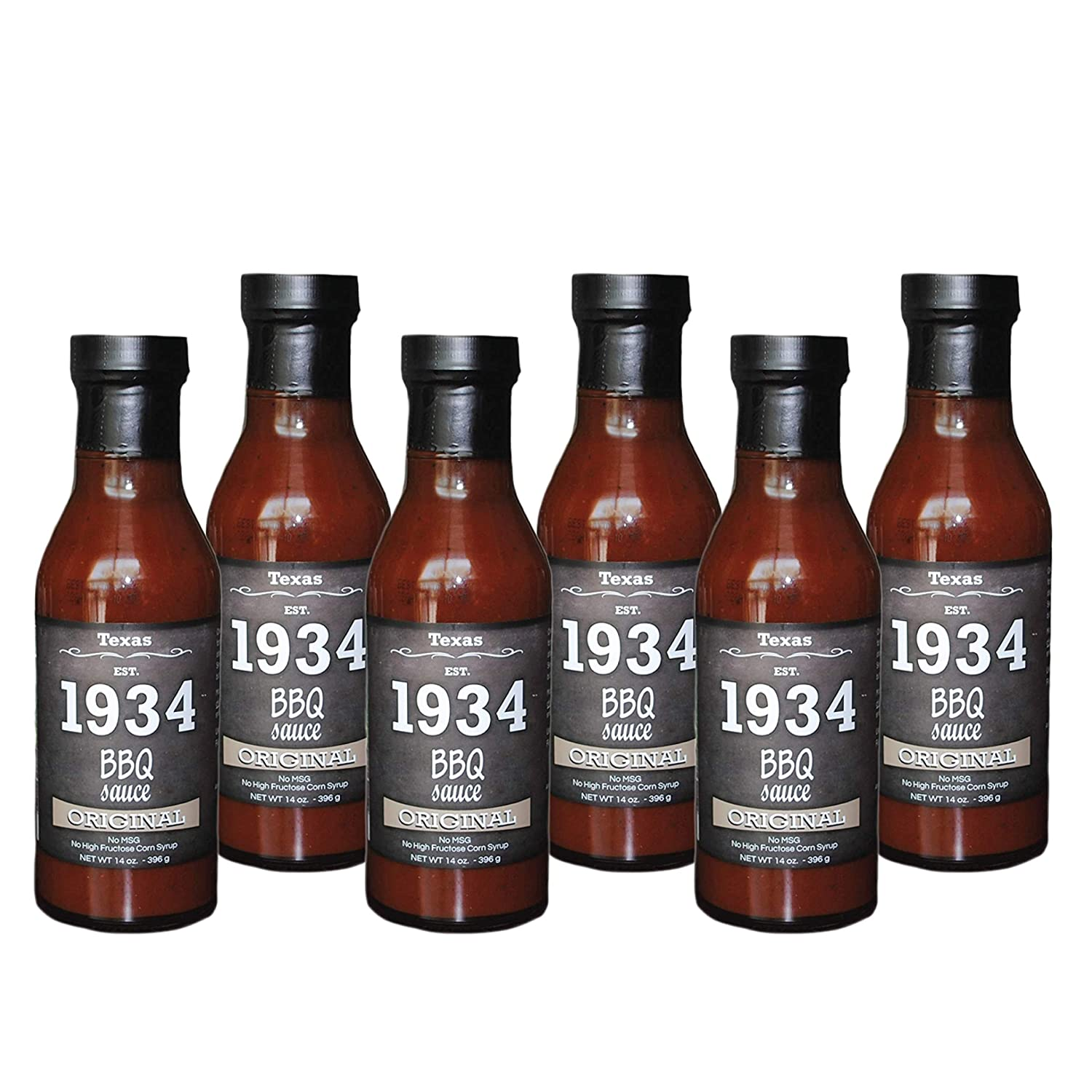 1934 Texas BBQ Sauce - Original 14 OZ. | Texas Style Classic BBQ Flavor with Black Pepper and Apple Cider Vinager | No Preservatives or High Fructose Corn Syrup I Great For Grilling | 6 Pack