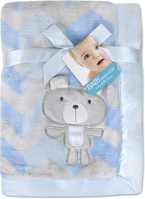 MDTPB3C40STR White with Pink and Blue Stripe 30x40 Cotton Baby Blanket QTY 72