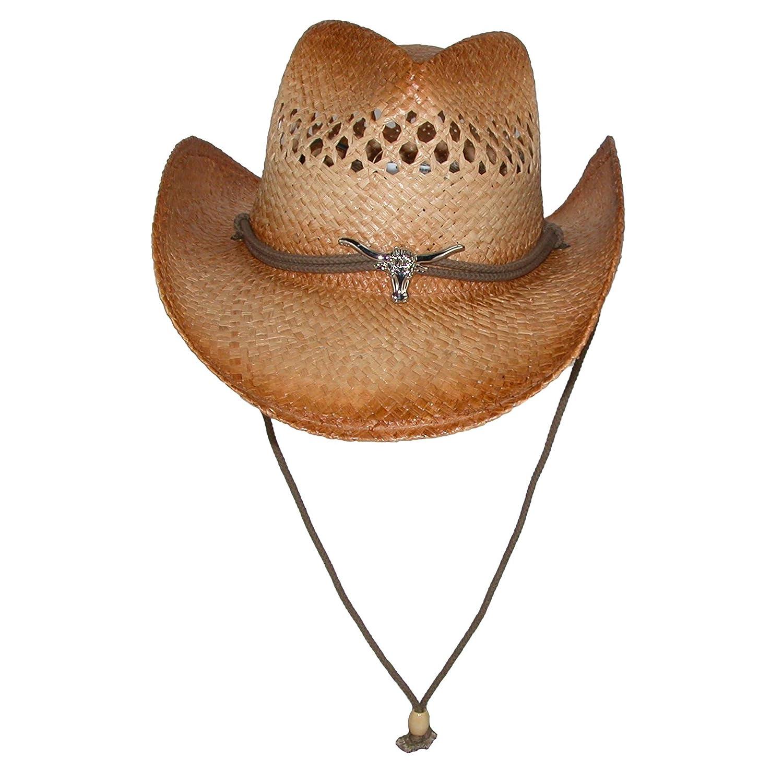 Kenny K Men's Raffia Cowboy Hat with Longhorn Concho
