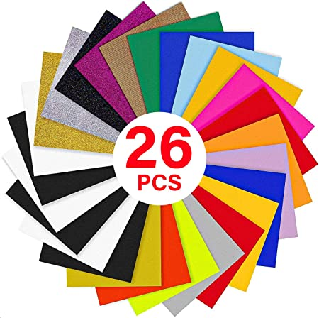 HTV Colored Printable HTV Vinyl Films Heat Press for T Shirts Other Fabrics Leather Pape oshhni 11Pieces PU Heat Transfer Vinyl Weed /& Press Easy to Cut