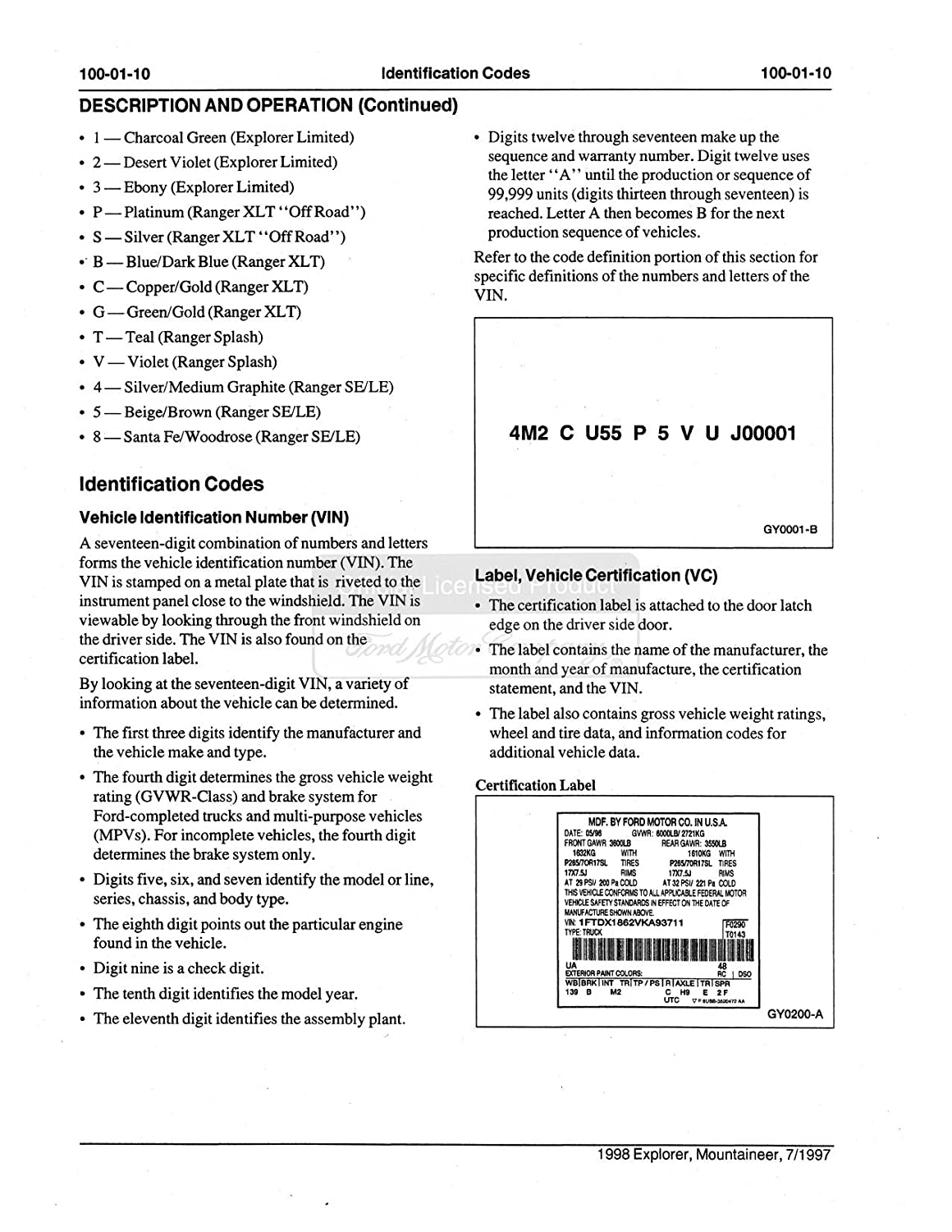1998 Ford Explorer Mountaineer Shop Service Repair 98 Wiring Diagram Manual Cd Engine Electrical Automotive