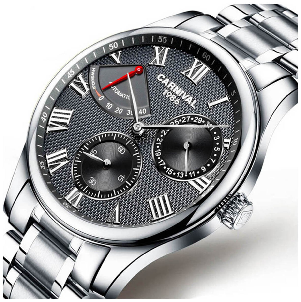 Mens Power Reserve Display Automatic Mechanical Watches Full Stainless Steel Waterproof Swiss Watches (Silver Black)