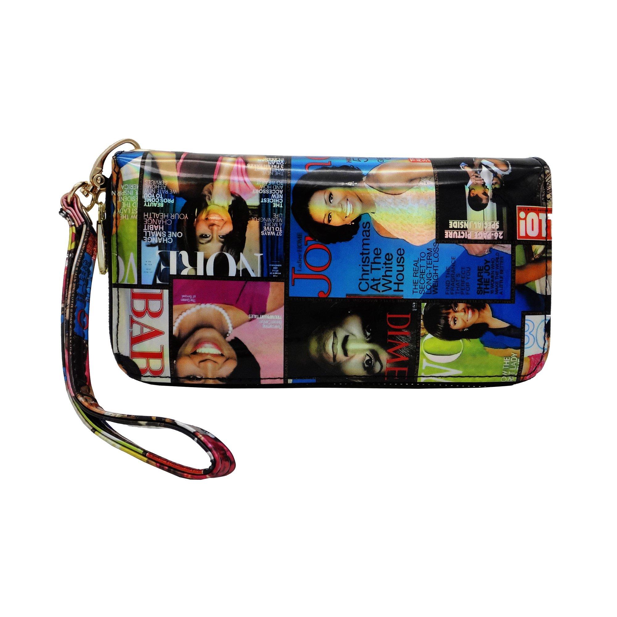 Michelle Obama Magazine Style Wallet (Multicolored-Metallic-Hologram)