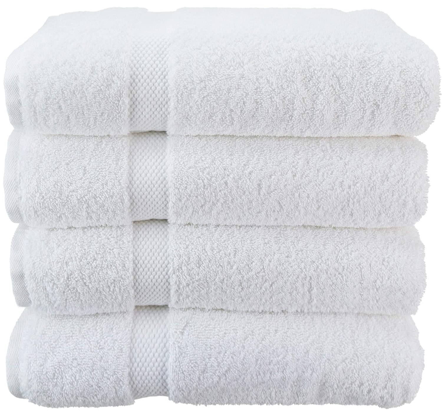Wealuxe Cotton Bath Towels - Soft and Absorbent Hotel Towel - 27x52 Inch - 4 Pack - White