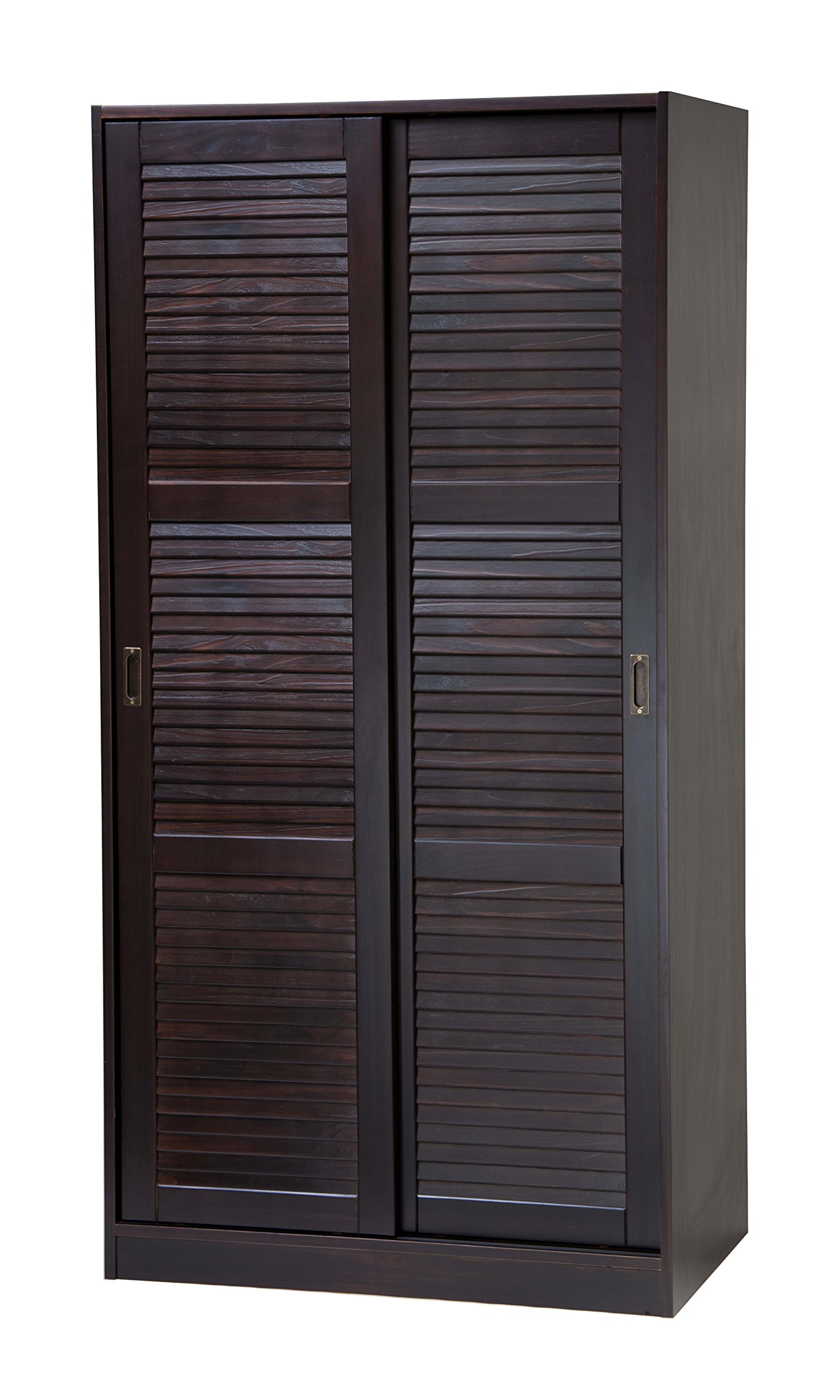 100% Solid Wood 2-Sliding Door Wardrobe/Armoire/Closet/Mudroom Storage by Palace Imports, Java Color. 1 Large Shelf, 1 Clothing Rod Included. Extra Optional Shelves Sold Separately. Requires Assembly by Palace Imports