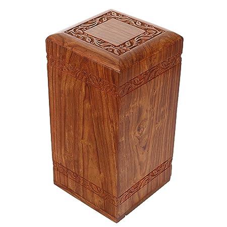 Solid Hand Carved Fine Natural Wood with Border Design – Adult Large Wooden Urn