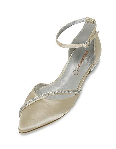 MarHermoso Damen Elegante Ballerinas Satin Ankle Strap Abendschuhe Brautschuhe