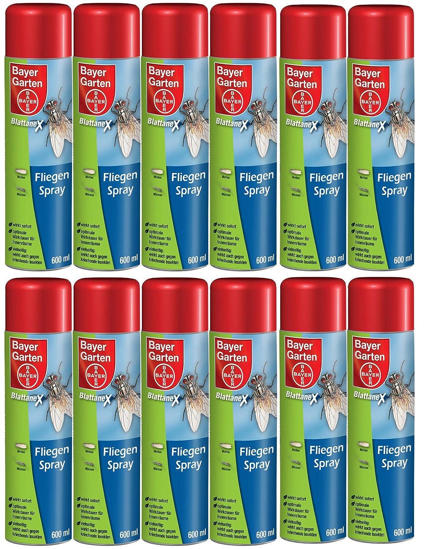12 x 600 ml Bayer Blattanex Fliegenspray gegen Mücken Fliegen Zecken etc.