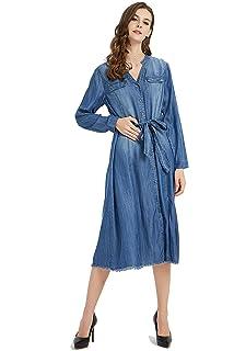 0911a0692d3 Tronjori Womens Distressed Long Sleeve V Neck Button Down Denim Shirt Dress  with Belt