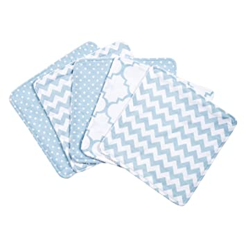 Trend Lab Sky 5 Pack Wash Cloth Set, Blue