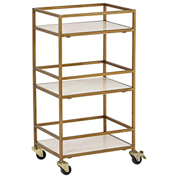 Rivet Modern Metal Kitchen Rolling Bar Cart with Wheels, 30\