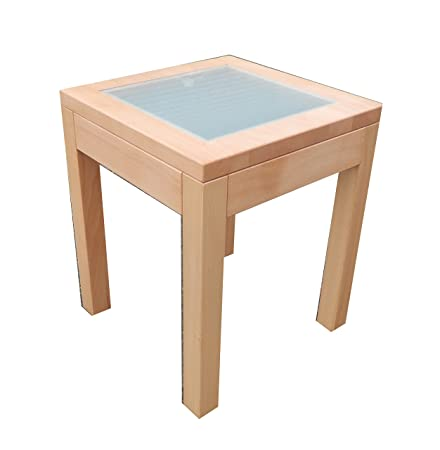 Glass Top Side Table Solid Beech . U0026quot;Coloniau0026quot;.