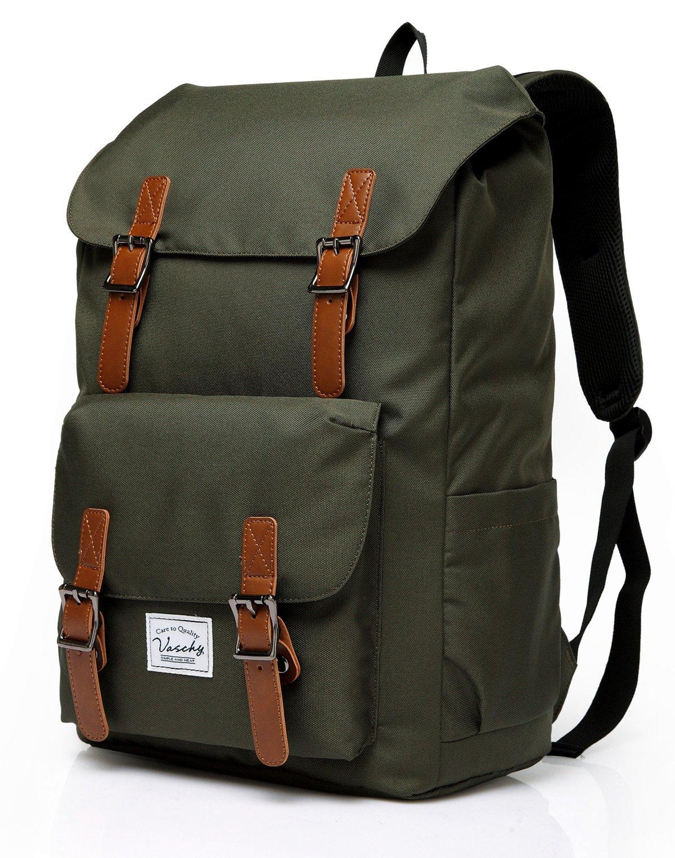 Vaschy Outdoor Hiking Waterproof Rucksack College Bookbag 15.6in Laptop Backpack Green by VASCHY