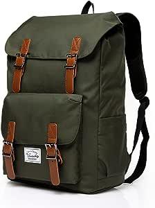 Vaschy Outdoor Hiking Waterproof Rucksack College Bookbag 15.6in Laptop Backpack Green
