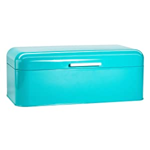 """Large Turquoise Bread Box - Extra Large Storage Container for Loaves, Bagels, Chips & More: 16.5"""" x 8.9"""" x 6.5""""   Bonus Recipe EBook"""