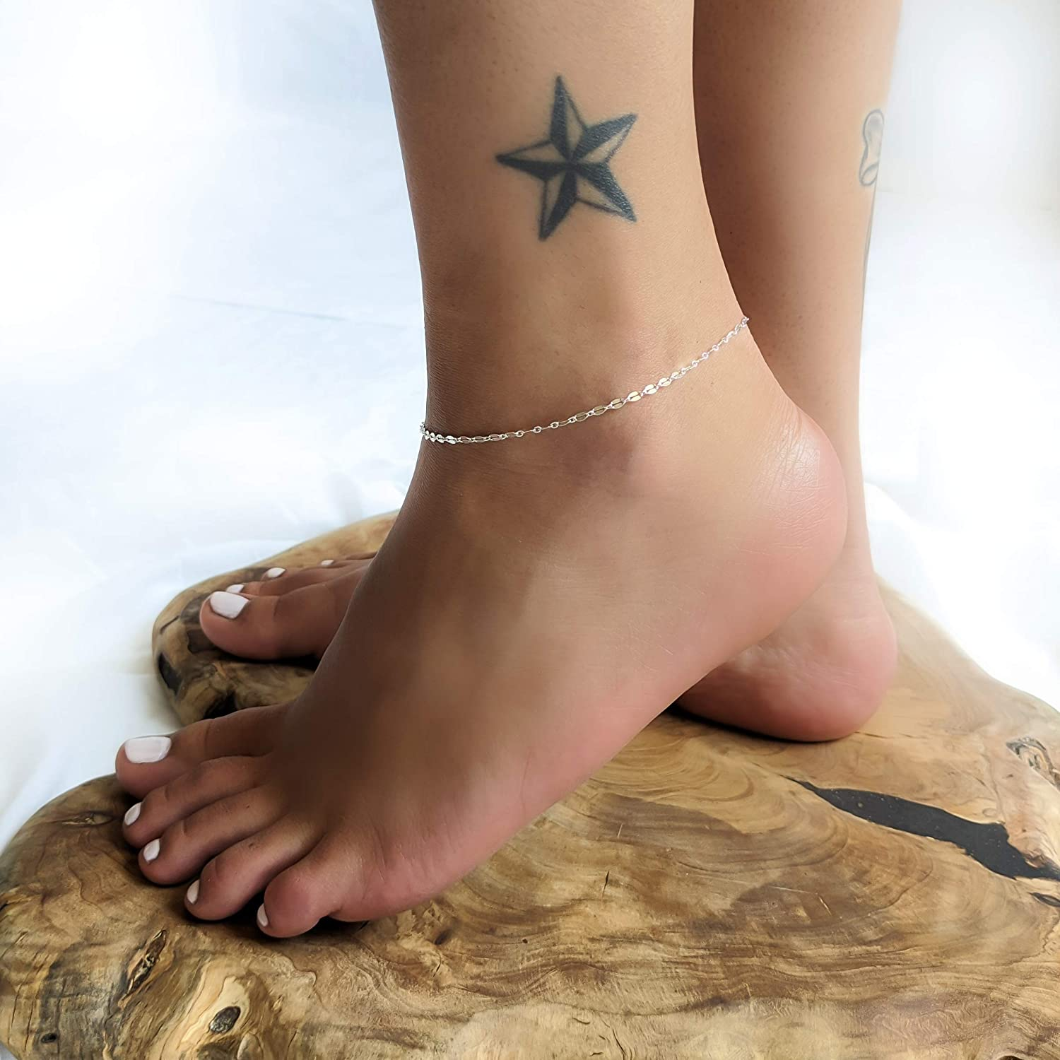 Unique Dainty Lace Chain Ankle Bracelet for Women Handmad of Sterling Silver Silver Anklet Summer Foot Jewelry by Annikabella