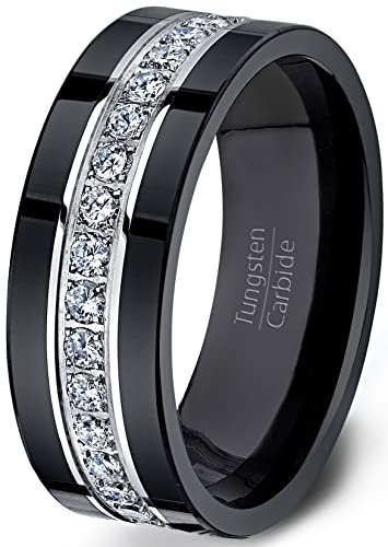 Duke Collections Mens Wedding Band Black Tungsten Ring Fully Stacked