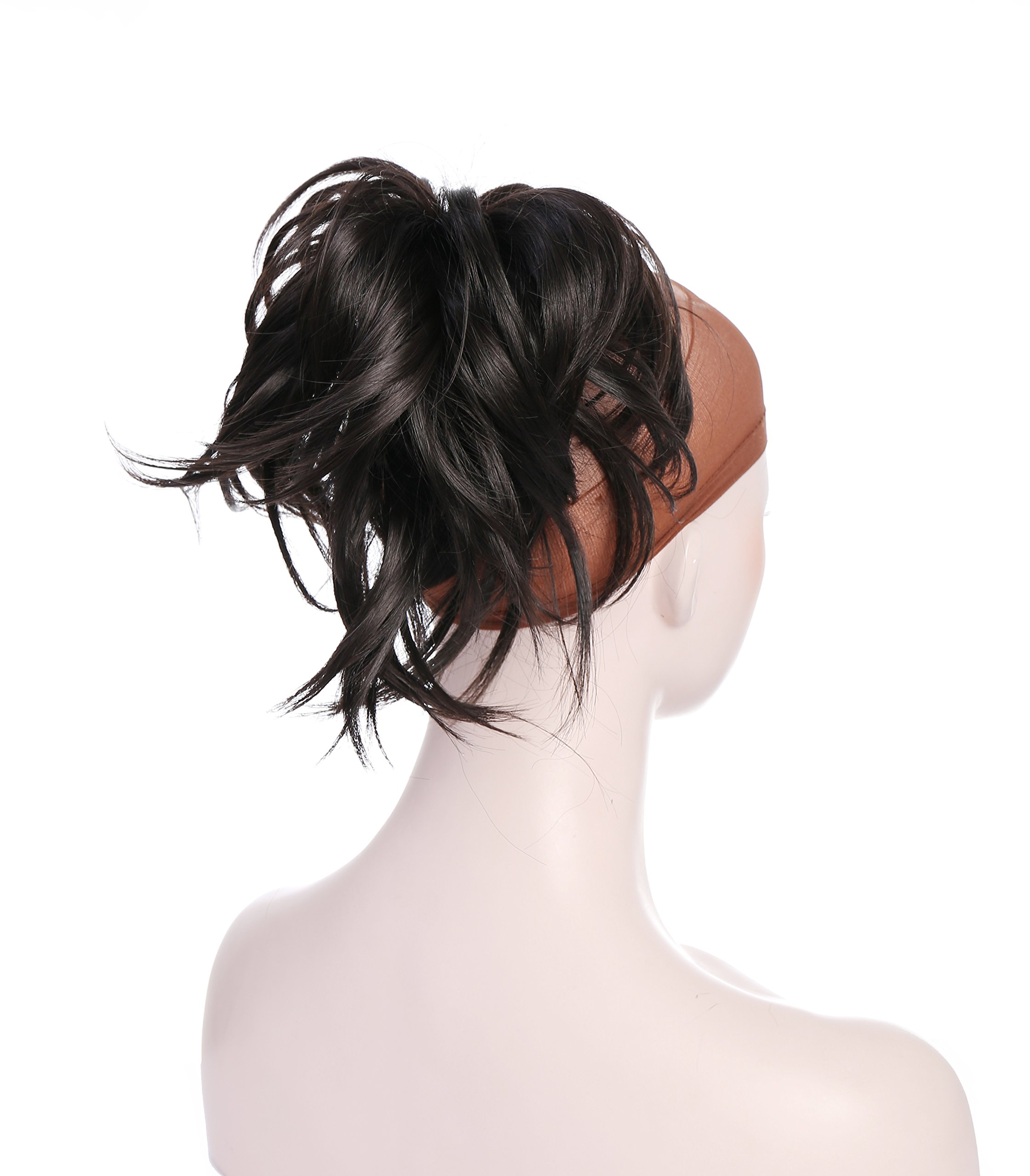 Onedor 12 inch Premium Synthetic Adjustable & Customizable Updo Style Ponytail Hair Extension with Clip on Claw Attachment (4# Dark Brown)