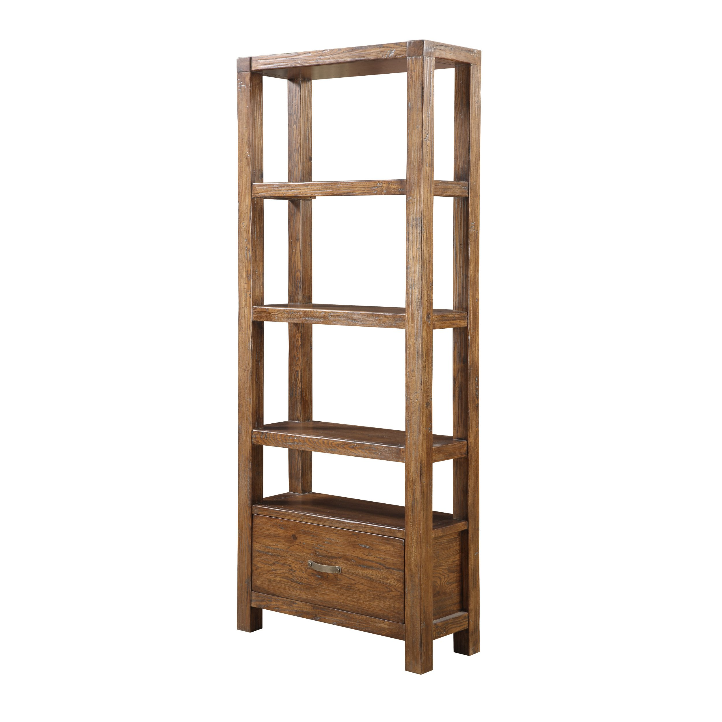 Emerald Home Brown Shelving with Large Bottom Drawer and Five Open Shelves