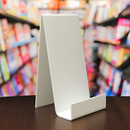 1 Large White Perspex Acrylic Plastic Book Plate Retail Display Stand Holder