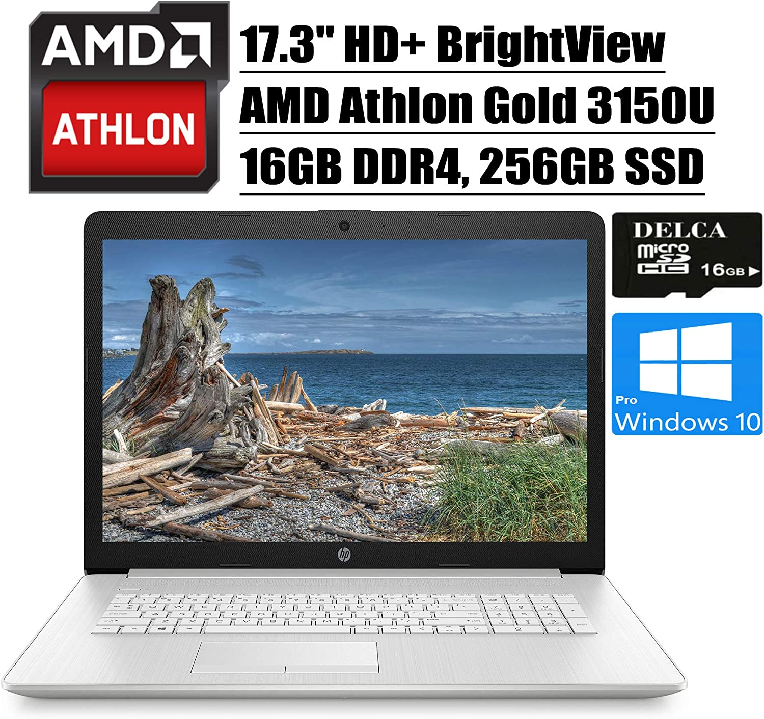 "HP 17 2020 Premium Laptop Computer I 17.3"" HD+ BrightView Display I AMD Athlon Gold 3150U I 16GB DDR4 256GB SSD I AMD Radeon Graphics WiFi DVD HDMI Webcam Win 10 Pro + Delca 16GB Micro SD Card"