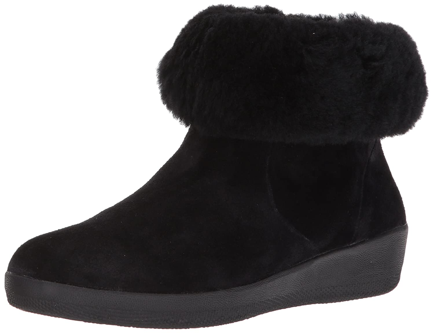FitFlop Women's Skatebootie Suede Shearling Ankle Boot B06XGJZHLX 5 B(M) US|Black