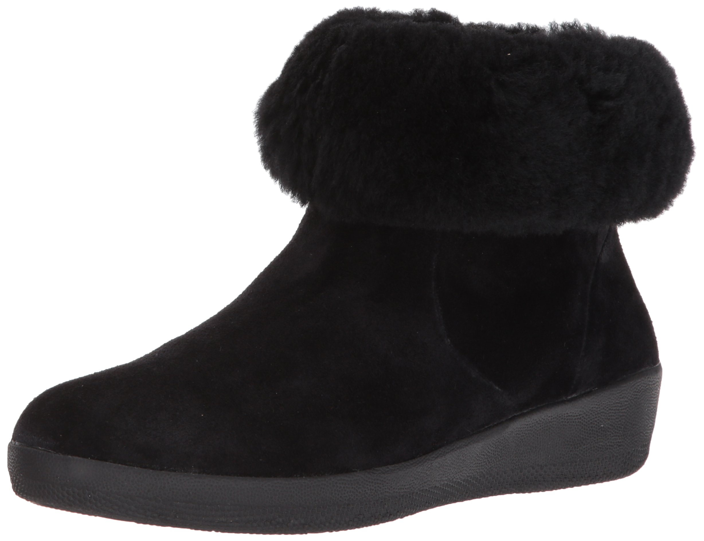 FitFlop Women's Skatebootie Suede Shearling Ankle Boot, Black, 9 M US