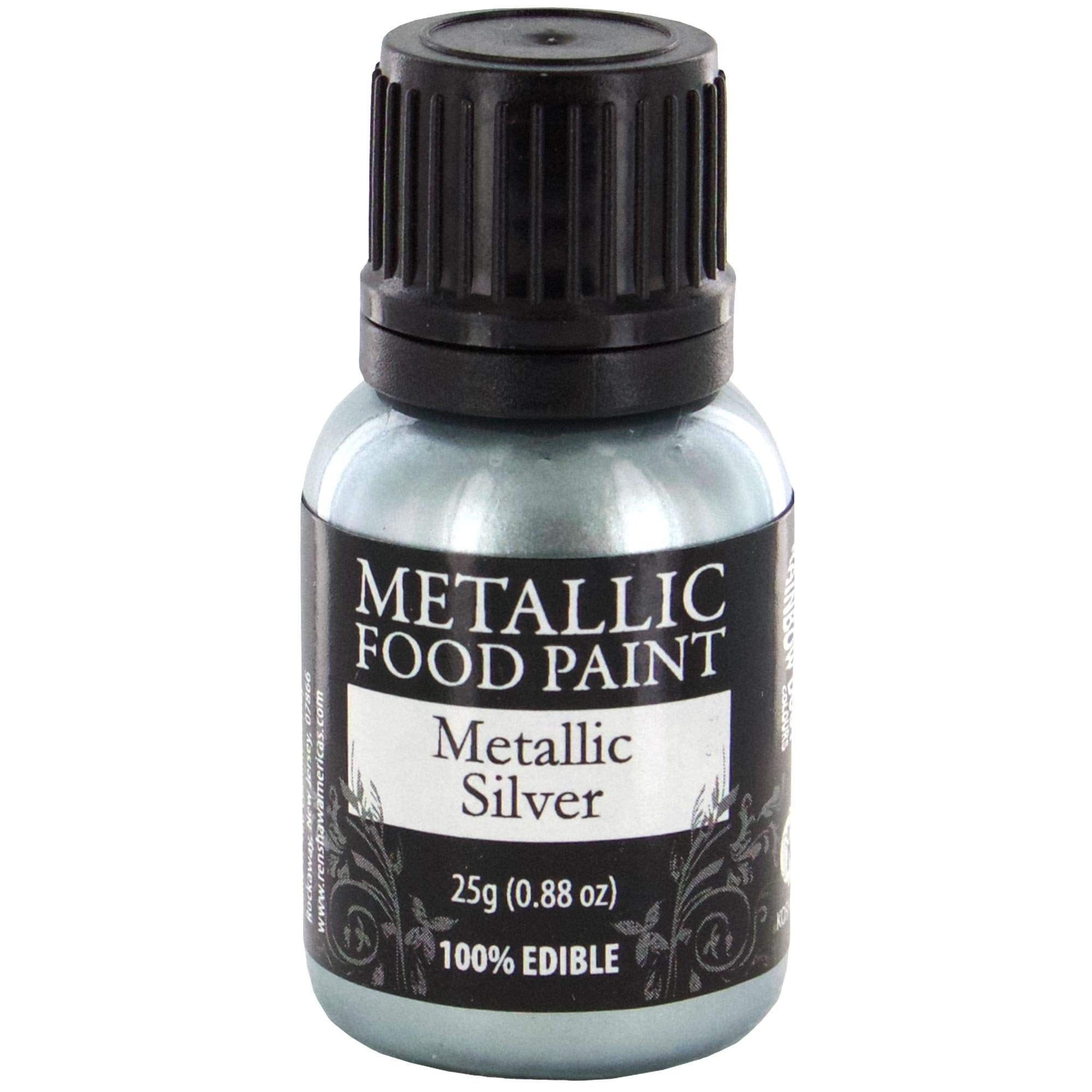 Renshaw Rainbow Dust Metallic Silver Food Paint, 0.88 oz